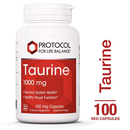 Protocol For Life Balance – Taurine 1,000 mg – Supports Nervous System, Physiological Response, and Healthy Visual Function – 100 Veg Capsules