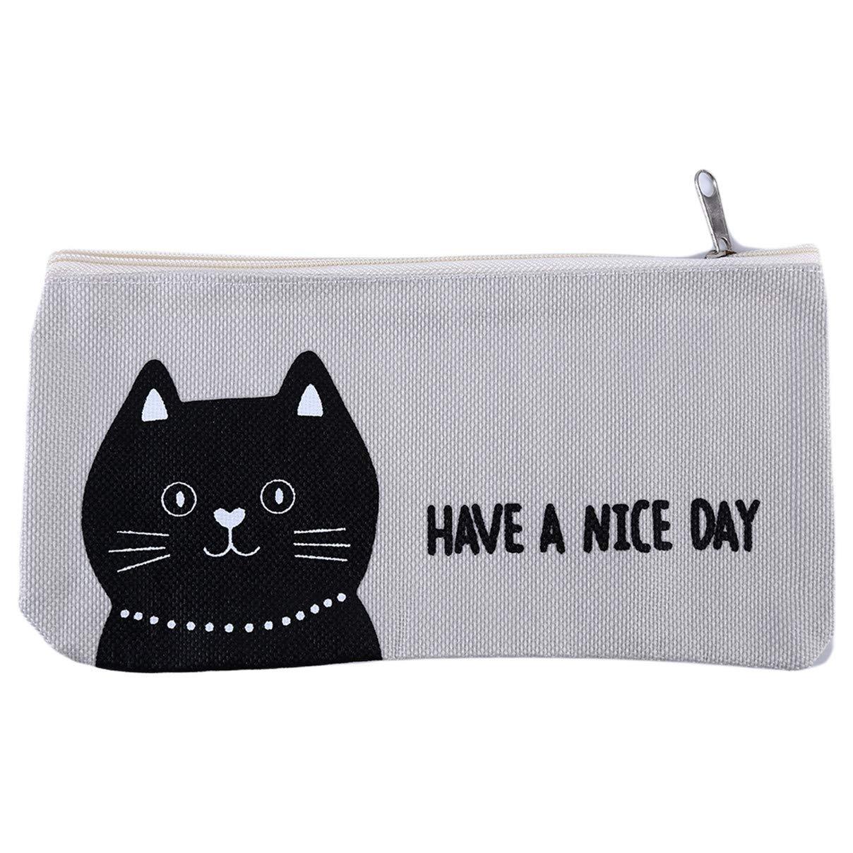 Weiy Pen Bag Pencil Case Cute Cartoon Canvas Pencil Case Or As Cosmetic Bag for Ladies