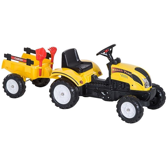 Pedal Remolque Para 123x42x51cm Y Pedales Años Tractor De 3 Homcom Carga Acero Niños Plástico Coche 35kg Juguete Con 6 Montar deWBCxro