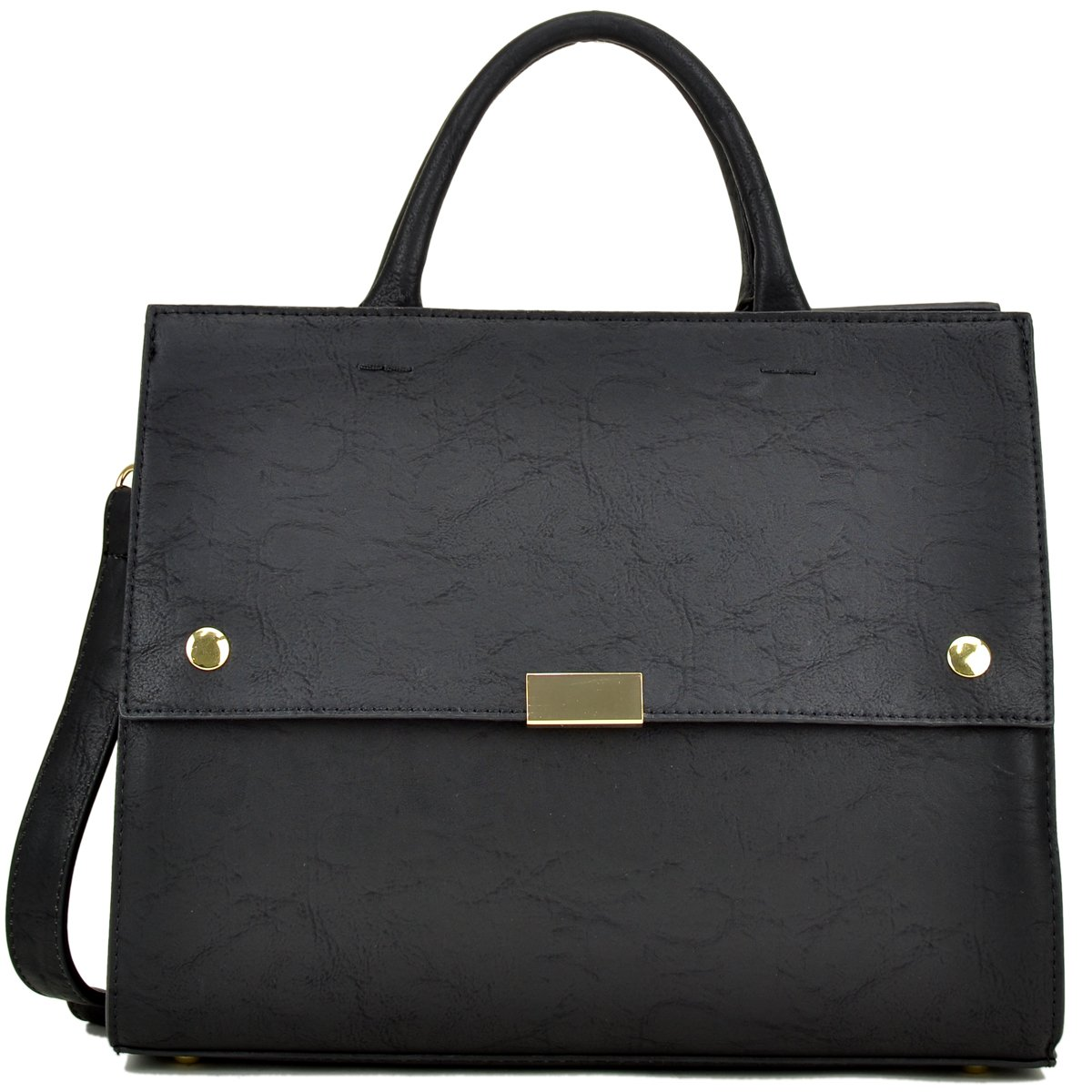 a8291be4c3 Amazon.com  Dasein Handbag for Women Classic Satchel Briefcase Shoulder Bag  Designer Purse (Black)  Shoes