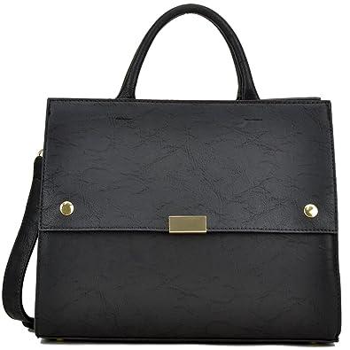 Dasein Handbag for Women Classic Satchel Briefcase Shoulder Bag Designer  Purse (Black) 9c07f263c3812