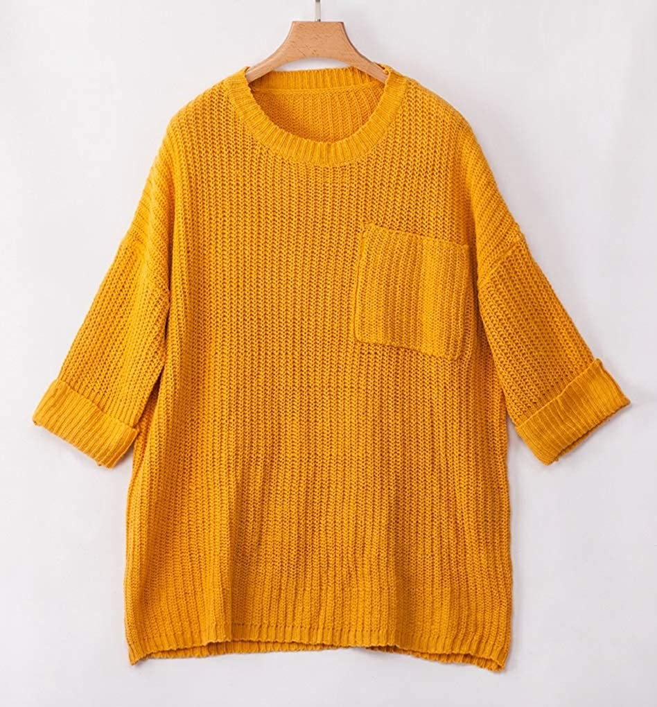 Fenxxxl Womens Loose Off Shoulder Winter Long Knitted Sweater Dress Long Sleeve Oversized Solid Color Pullover