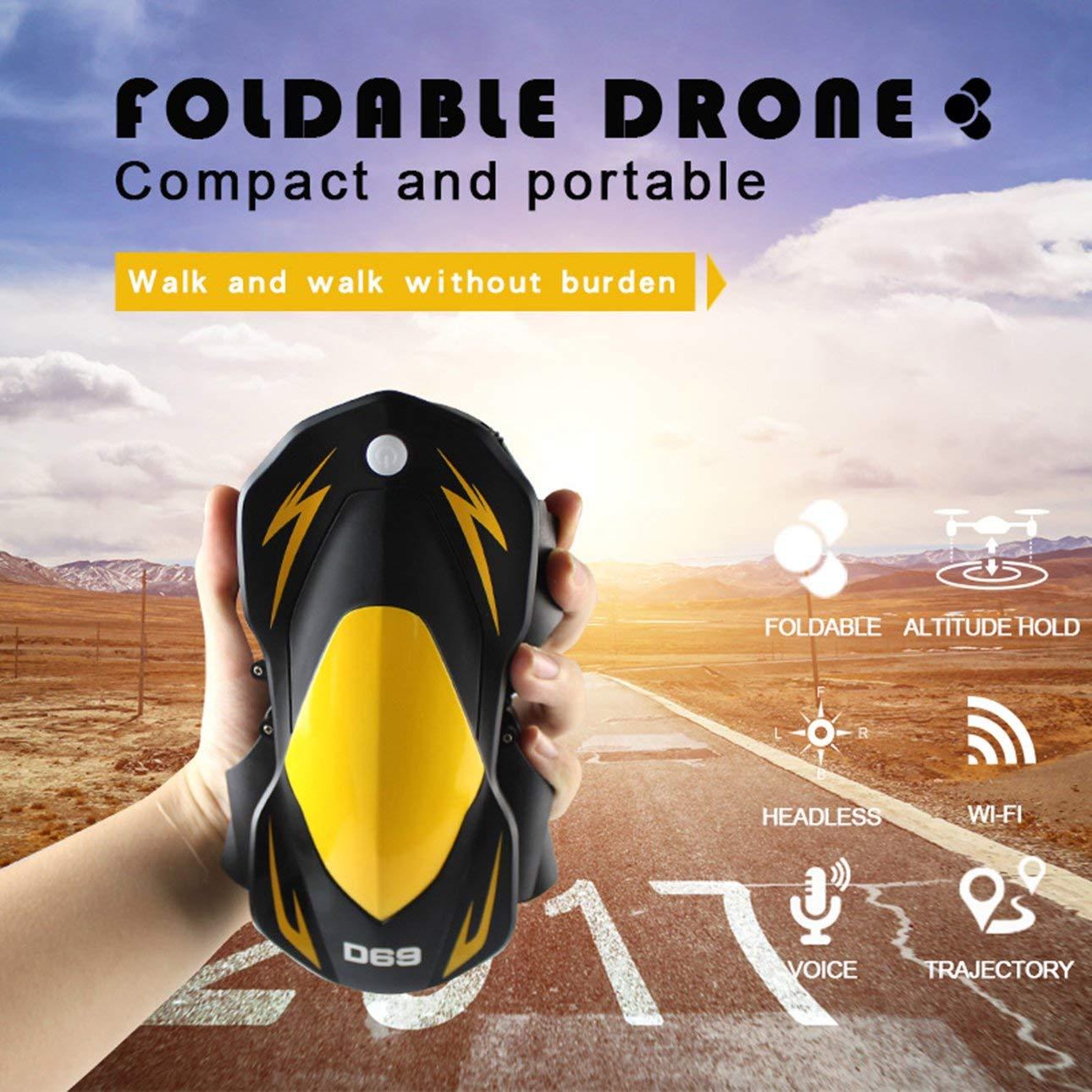 Ballylelly Drone RC con CameraD69 Drone con Telecamera 720P 2.4 GHz RC Control WiFi FPV Holding Quota Pieghevole Gravity Sense Control Fixed RC Quadcopter
