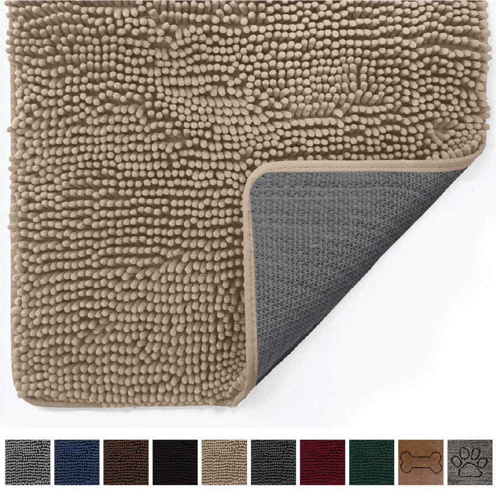 Gorilla Grip Original Indoor Durable Chenille Doormat, Large, 70x24, Absorbent, Machine Washable Inside Mats, Low-Profile Rug Doormats for Entry, Back Door, Mud Room Mat, High Traffic Areas, Beige