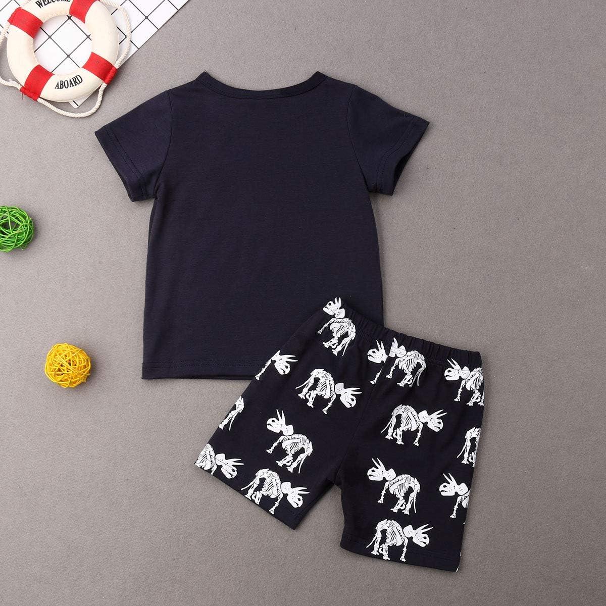Pantaloncini Bambino Nero Carolilly Bambino Ragazzi Camicia Cime T-Shirt a Maniche Corte e Pantaloncini Set Coordinato 2 Pezzi Magliette Estive con Stampa Dinosauro