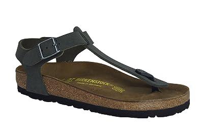 BirkenUziFseMqMG Classic Kairo Birko-Flor, Damen Knöchelriemchen Sandalen mit Keilabsatz, Grün (Khaki), Gr. 41