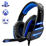 PS4 Gaming Headset with Mic, Beexcellent Newest Deep Bass Stereo Sound Over Ear Headphone with Noise Isolation LED Light for PC Laptop Tablet Mac (Blue) (Color: blue)