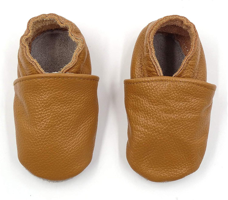 Zapatos de bebé de Cuero Suave Pantuflas Infantiles Patuco de Suela Suave Zapatillas Pantuflas de Cuero-Niño/Niña Zapatos de Cuero Suave para bebés.