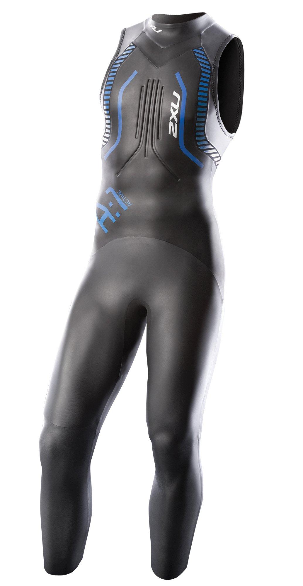 2XU Men's A:1 Active Sleeveless Wetsuit, Medium, Black/Cobalt Blue by 2XU