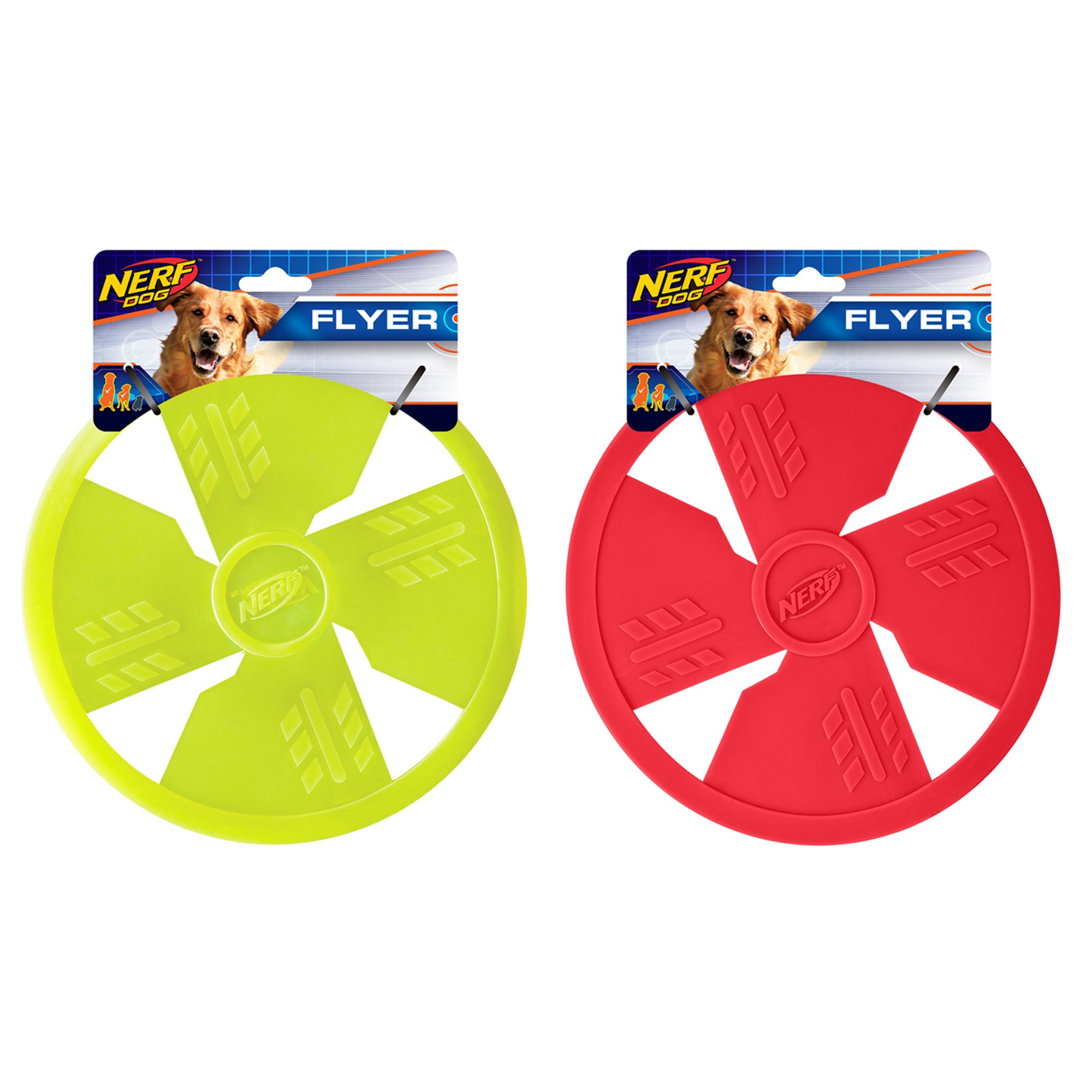 Nerf Dog TPR Float Flyer Flying Disc Dog Toy, Large, (2-Pack), Green and Red