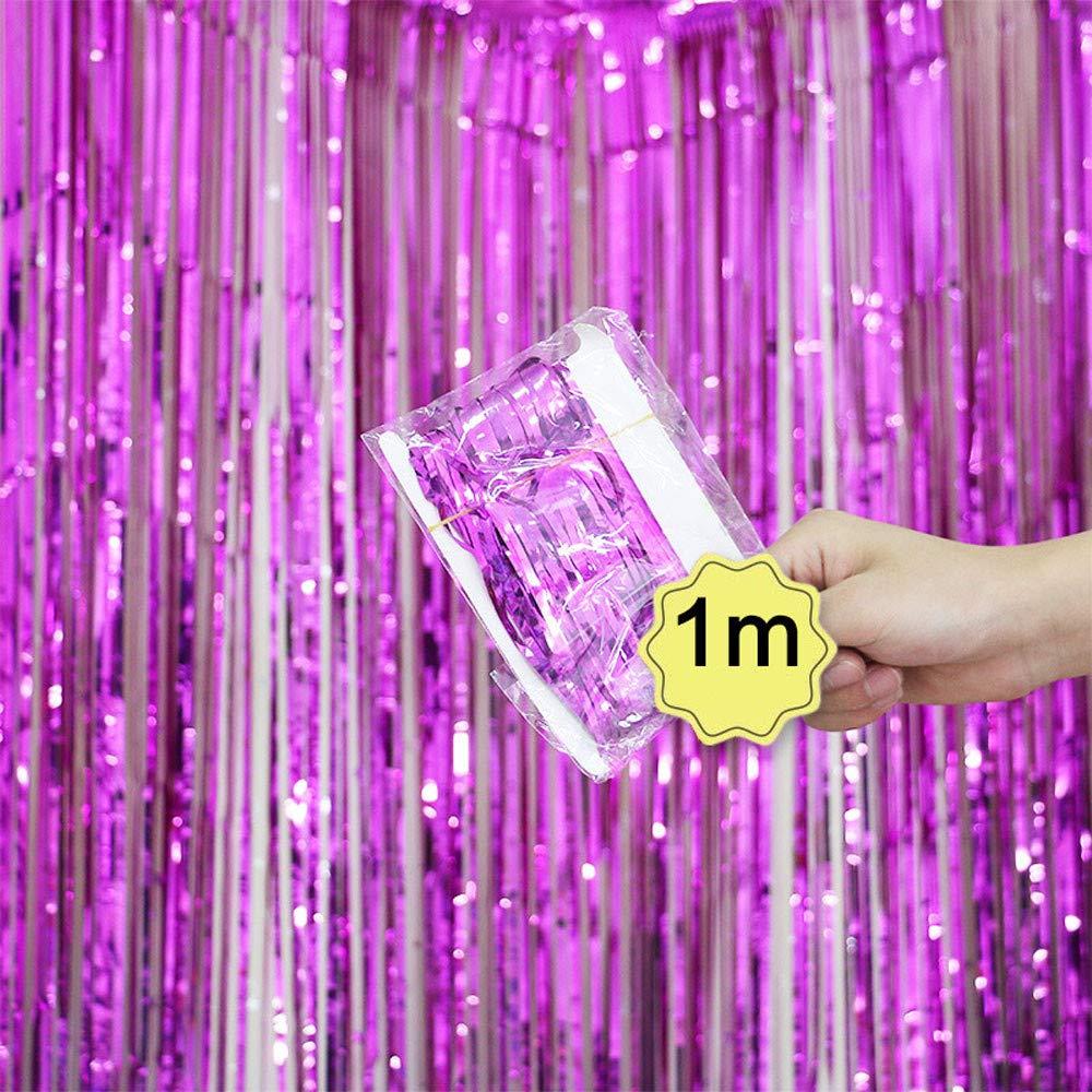 Dreamyth Foil Fringe Curtain, 1 Pack Black Tinsel Foil Fringe Photo Backdrop for Birthday Party Wedding Decor (Hot Pink, 1mx1m)