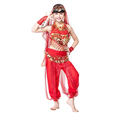 e692eea7c1d6 MISI CHAO Girls Belly Dance Chiffon Bollywood Costume Indian Dance Costume  Cosplay Outfit(Red Sc 1 St Amazon.com