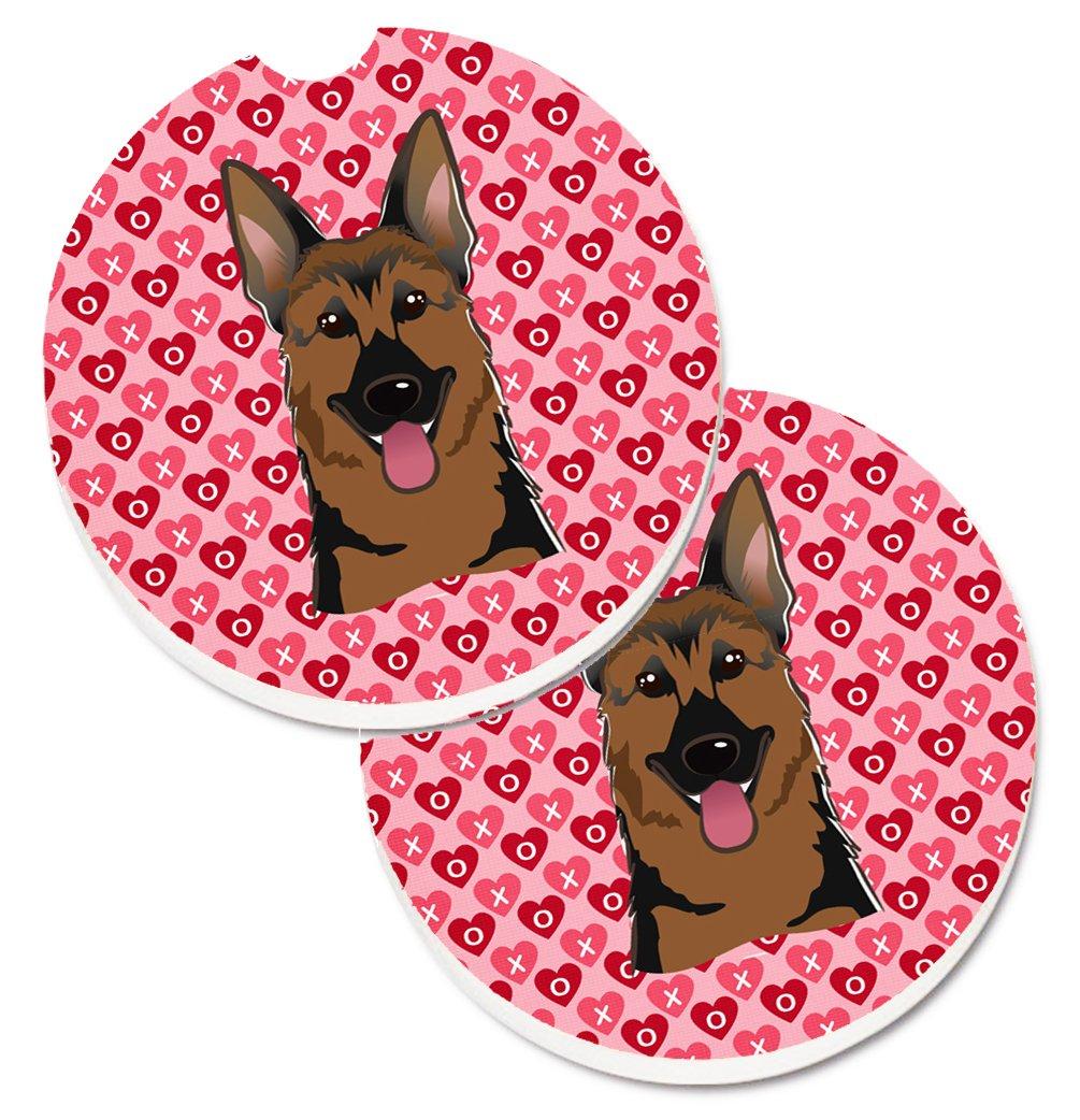 2.56 Multicolor Carolines Treasures German Shepherd Hearts Set of 2 Cup Holder Car Coasters