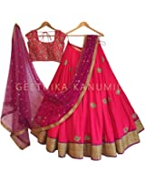shivam Embroidery women' pink Silk free size lehenga cholis(pink_freesize)