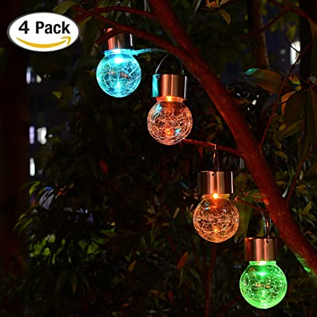 LED Hanging Solar Lights Outdoor - 4 Pack Solarmart Solar Powered Globe  Lights, Multi- - Amazon.com : LED Hanging Solar Lights Outdoor - 4 Pack Solarmart