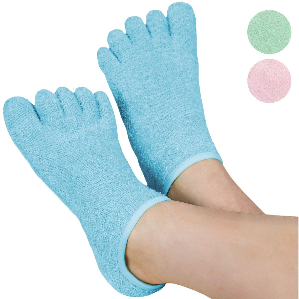 LE EMILIE 5-Toe Gel Moisturizing Socks for Women or Men | Helps Heal Dry Cracked Heels and Feet Infused with Aromatherapy Blend of Lavender and Jojoba Oil | 1 Pair, Aquamarine Blue