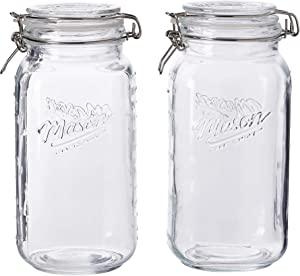Mason Craft & More Airtight Kitchen Food Storage Clear Glass Clamp Jars, 2 Pack of 67 Ounce (2 Liter) Large Clamp Jar
