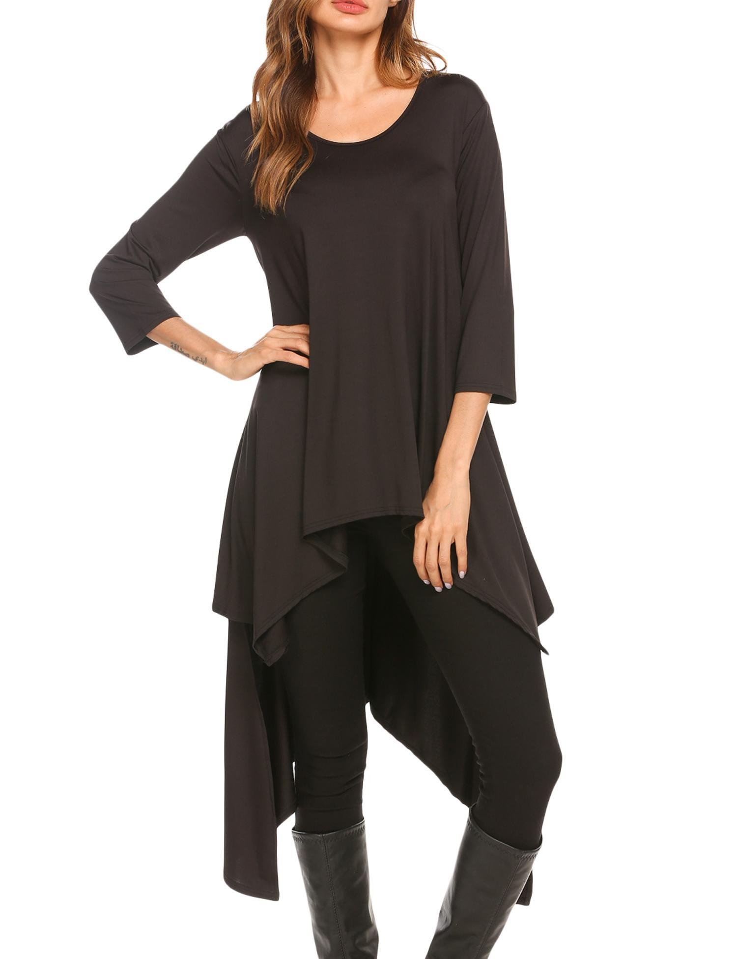 Mofavor Women's Casual Crewneck 3/4 Sleeve High Low Loose Swing T-Shirt Tunic, Black, XXL