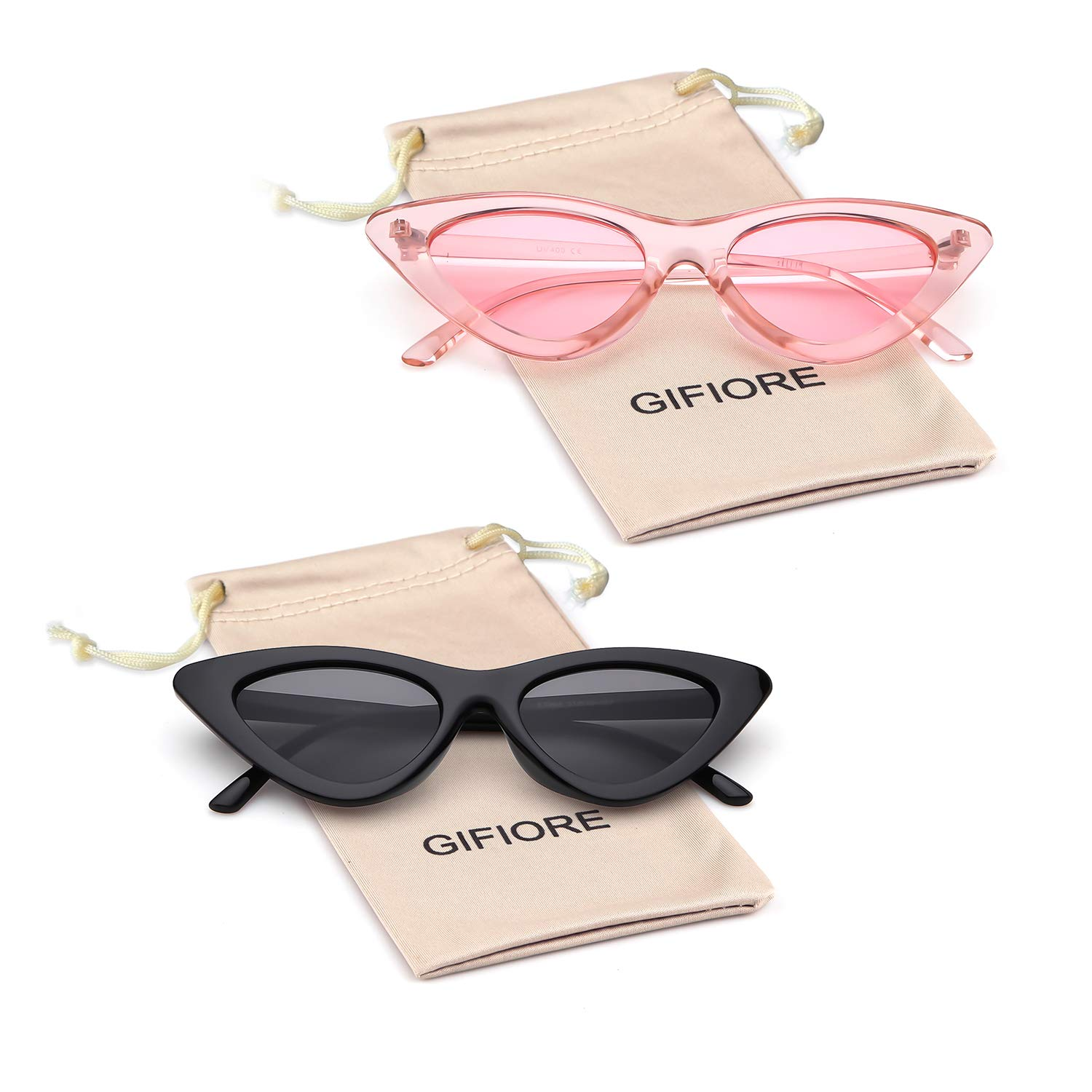 003afcb44d4b Amazon.com: Gifiore Retro Vintage Cat Eye Sunglasses for Women Clout  Goggles Plastic Frame Glasses (Black&Pink, 51): Clothing
