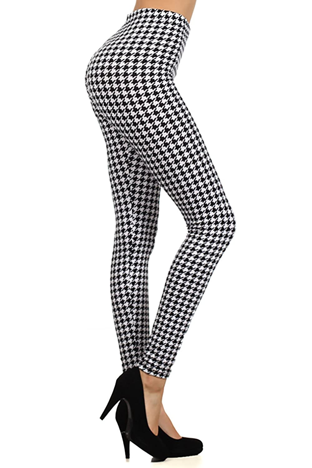 Houndstooth Pattern Graphic Print High Waist Leggings Pants Tights Black At Amazon Womens Clothing Store