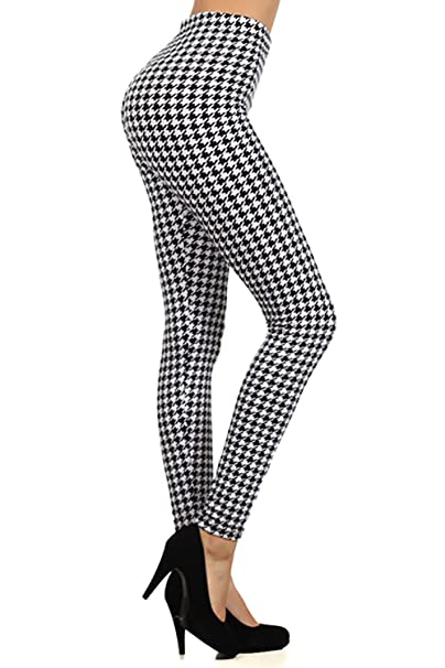91e61fc586c42 Houndstooth Pattern Graphic Print High Waist Leggings Pants Tights (Black)  at Amazon Women's Clothing store: