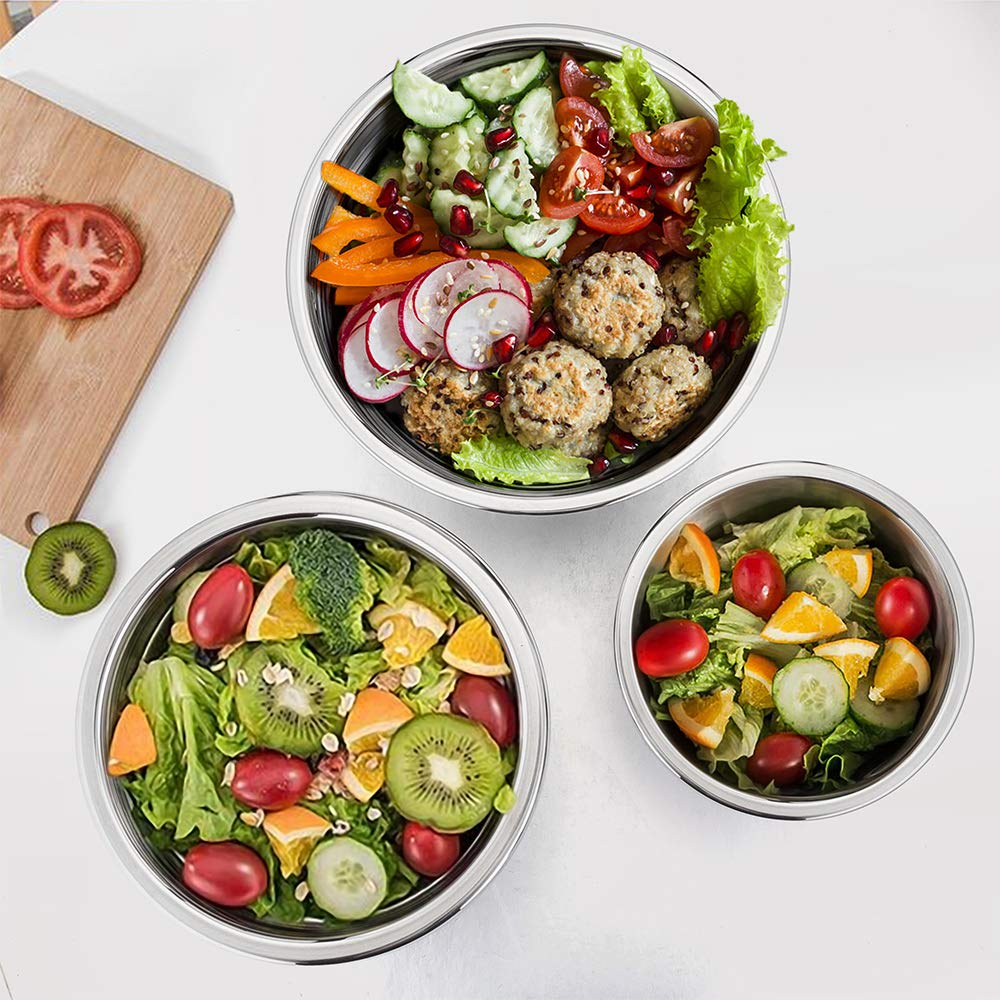 P&P CHEF Mixing Bowls With Lids, Set of 6 (12 Piece), Stainless Steel Nesting Mixing Bowls & Tight Fitting Lids & Non-Slip Silicone Bottom, 6 Multi Size (1/1.5/2.5/3/4/5qt) by P&P CHEF (Image #6)