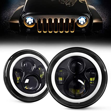 "2pcs DOT 7/"" Inch Round LED Headlight DRL Signal Light For Jeep Wrangler 07-18 JK"