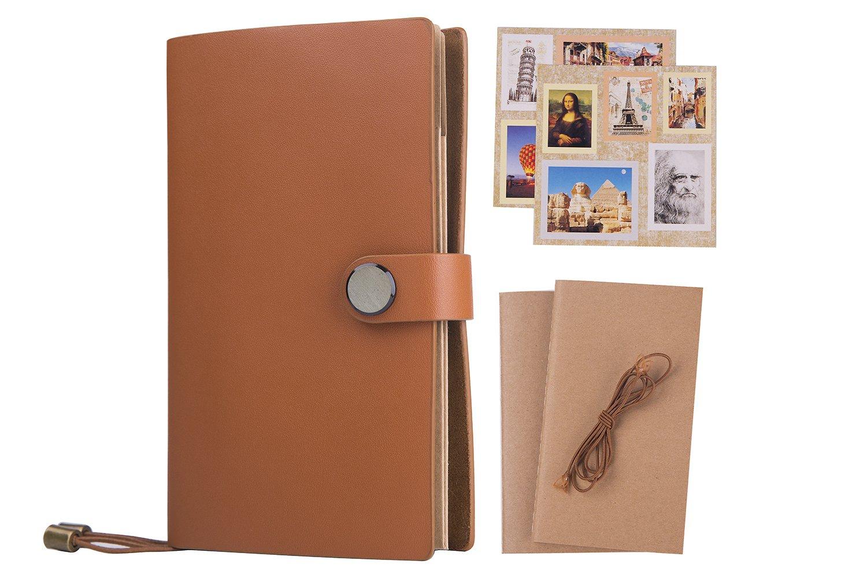 Taccuino/Travelers notebook A6 - Lemome diario con una spessa carta, copertina morbida vintage Gazzetta ,5 confezione da 1 inserti + corda + 2 pezzi adesivi + box, 16,5 x 10,2 cm, marrone