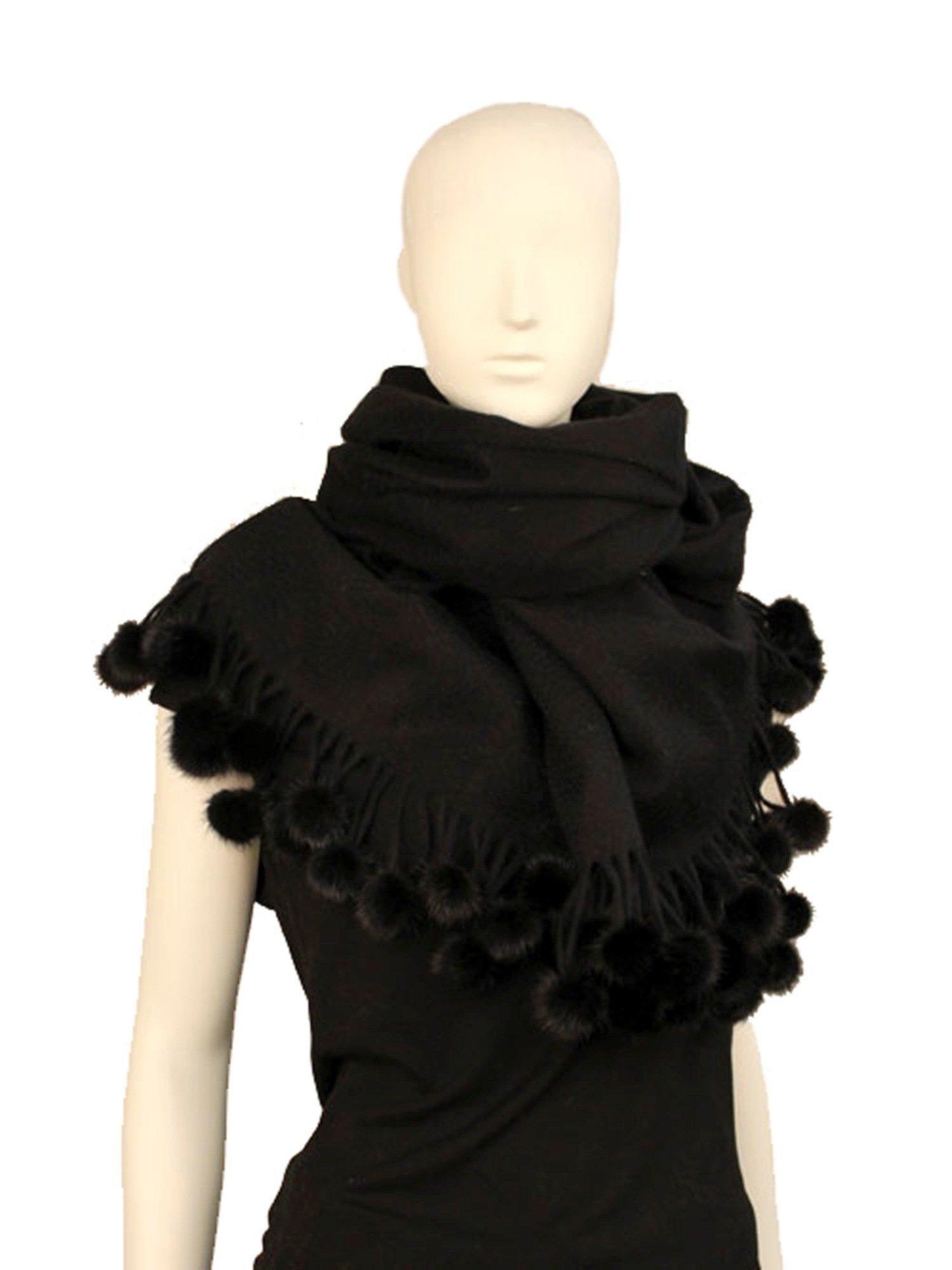 Cashmere scarf/Cashmere shawl with Mink Pom-Pom balls -Cashmere Pashmina Group (Black) by Cashmere Pashmina Group