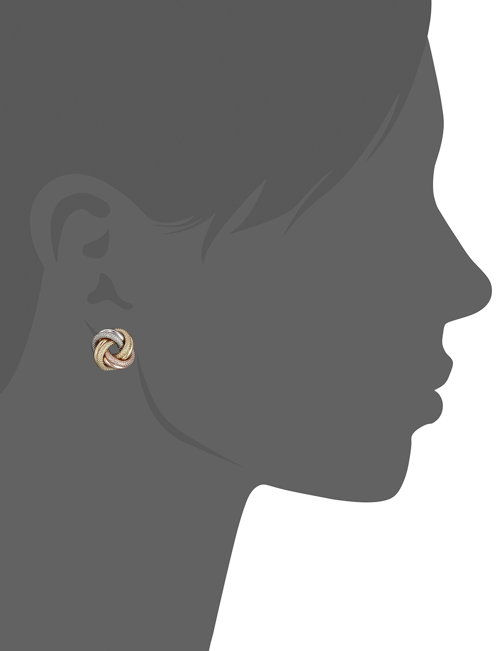14k Gold Italian Tri-Color Love Knot Stud Earrings by Amazon Collection (Image #2)