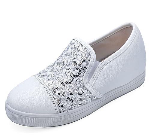 Damen Silber Pailletten Plateau Flache Slipper Turnschuhe Plimsoll Halbschuhe Schuhe Größen 3-8 - Weiß Silber, 39 Generic