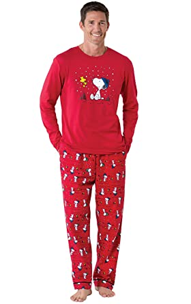 pajamagram snoopy and woodstock cotton jersey mens pajamas red - Snoopy Christmas Pajamas