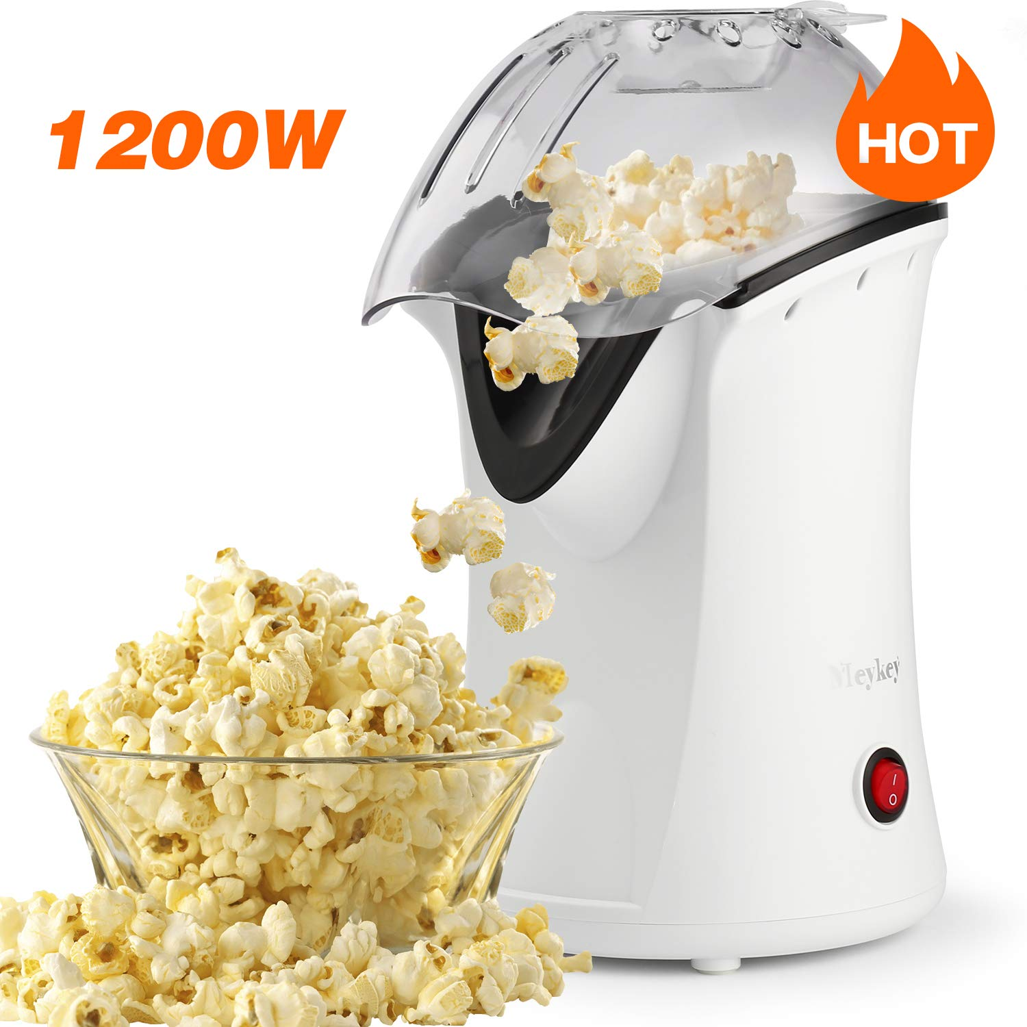 Popcorn Popper Oveloxe Hot Air Popcorn Popper 1200W No Oil Popcorn Maker with Measuring Cup and Removable Top Cover by Oveloxe