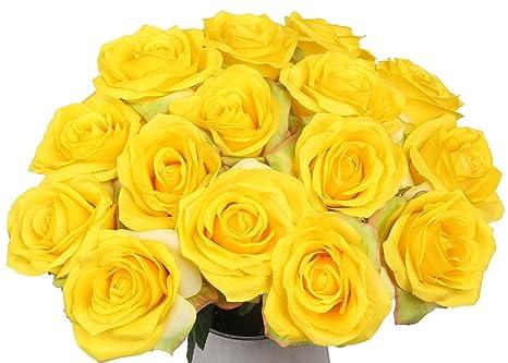 Ramo de Rosas de seda flores artificiales decoración de hogar Boda Pack de 15 (15