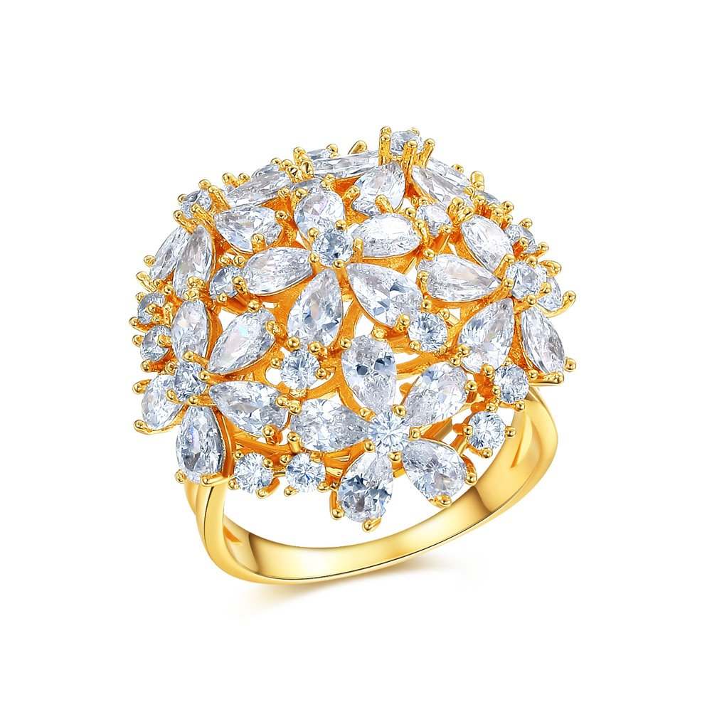DIFINES Redbarry Flower Cluster Design Best Craft AAA CZ 18k Gold Plated Party Ring, Size 7