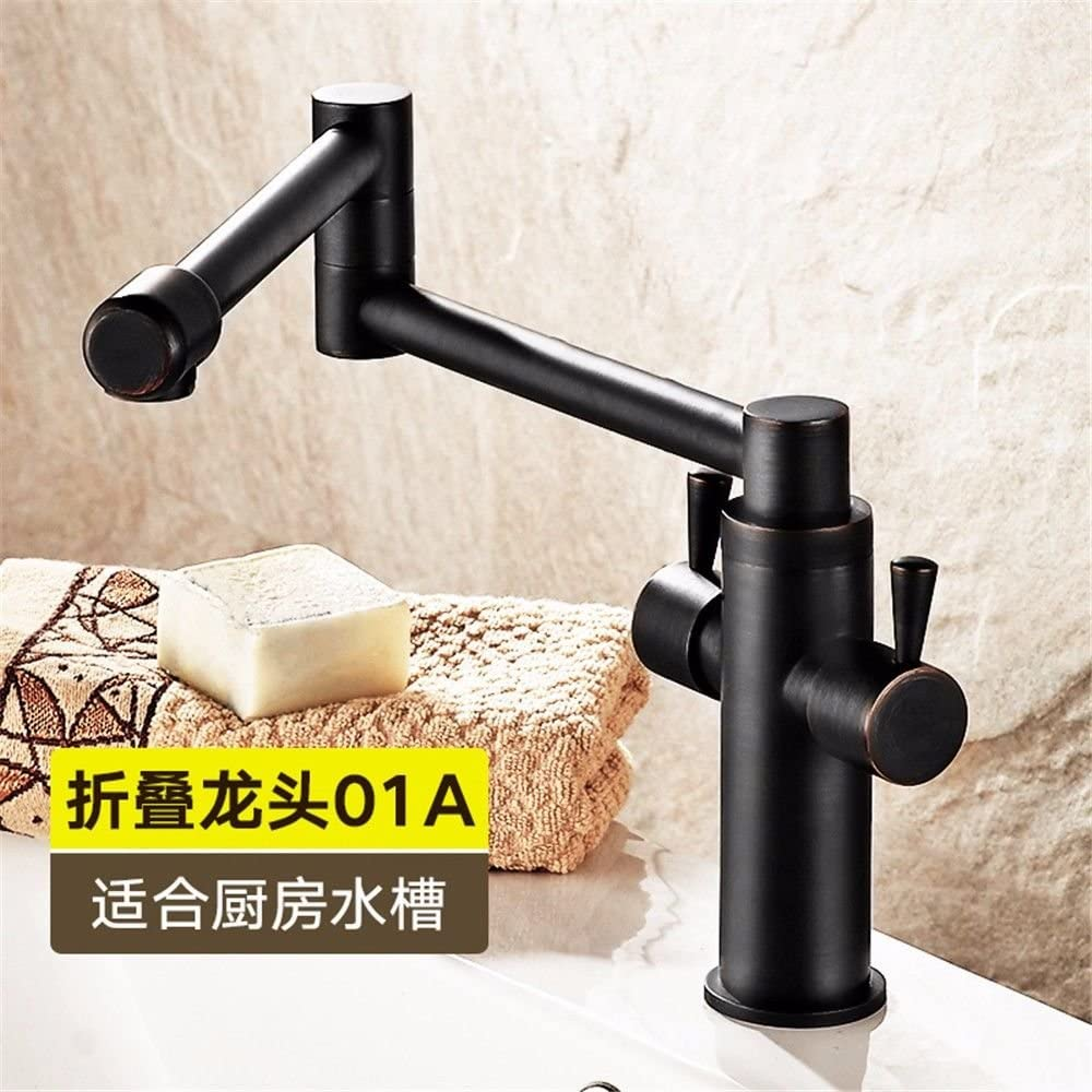 Bathroom Sink Faucet Black Kitchen Sink Mixer Tap Folding Contemporary Bathroom Sink Faucet with Rotating Spout Solid Brass Hot and Cold Widespread
