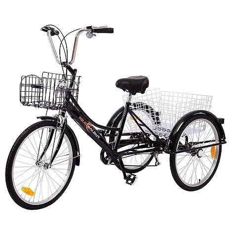 Yonntech Tricicli Adulti 24 6 Velocità Bicicletta 3 Ruote Adulti Bici Da Uomo Donna Con Cestino Di Acquisto Nero
