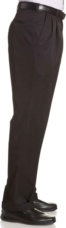 Haggar Mens Mynx Gabardine Pleat-Front Dress Pant with Hidden Expandable Waist