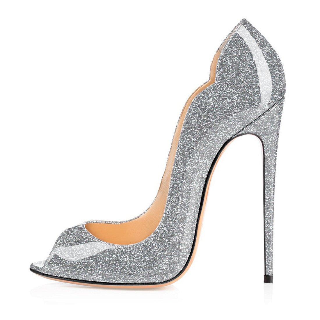 Soireelady - Zapatos con tacón Mujer 37 EU|Glitter-silber