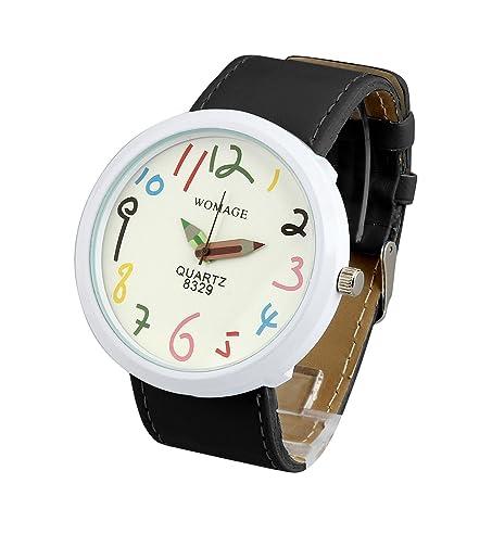 ShoppeWatch Women Big Face Wrist Watch Unisex Black Band Easy Read Dial Reloj para Dama SW8329BKWH