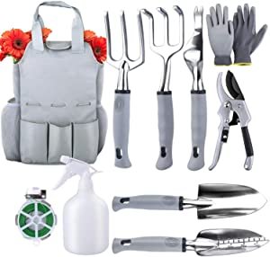 DAFEN Garden Tool Set, Heavy Duty Plant Care Kit with Non-Slip Ergonomic Handle for Home Garden Lawn Farm Herbs (9 Pieces)