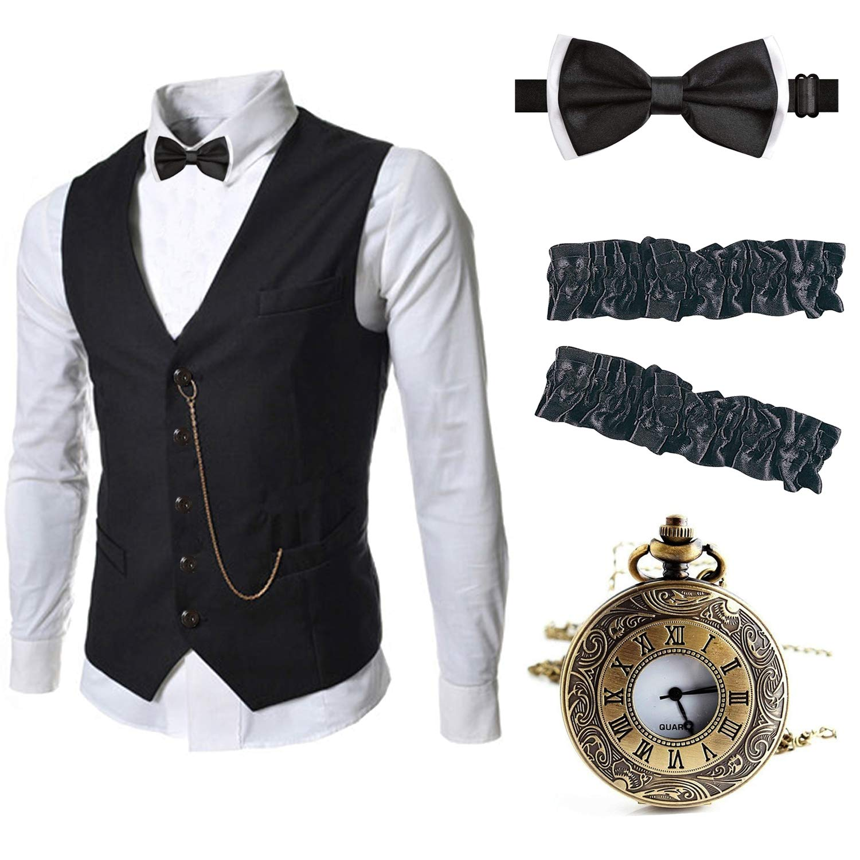 EFORLED Mens 1920s Accessories Gangster Vest Set - Pocket Watch,Armbands,Pre Tied Bow Tie,Black,XL1 by EFORLED