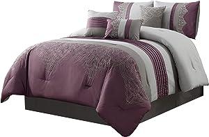 Chezmoi Collection Chloe 7-Piece Purple Gray Geometric Embroidery Pleated Striped Comforter Set, Full