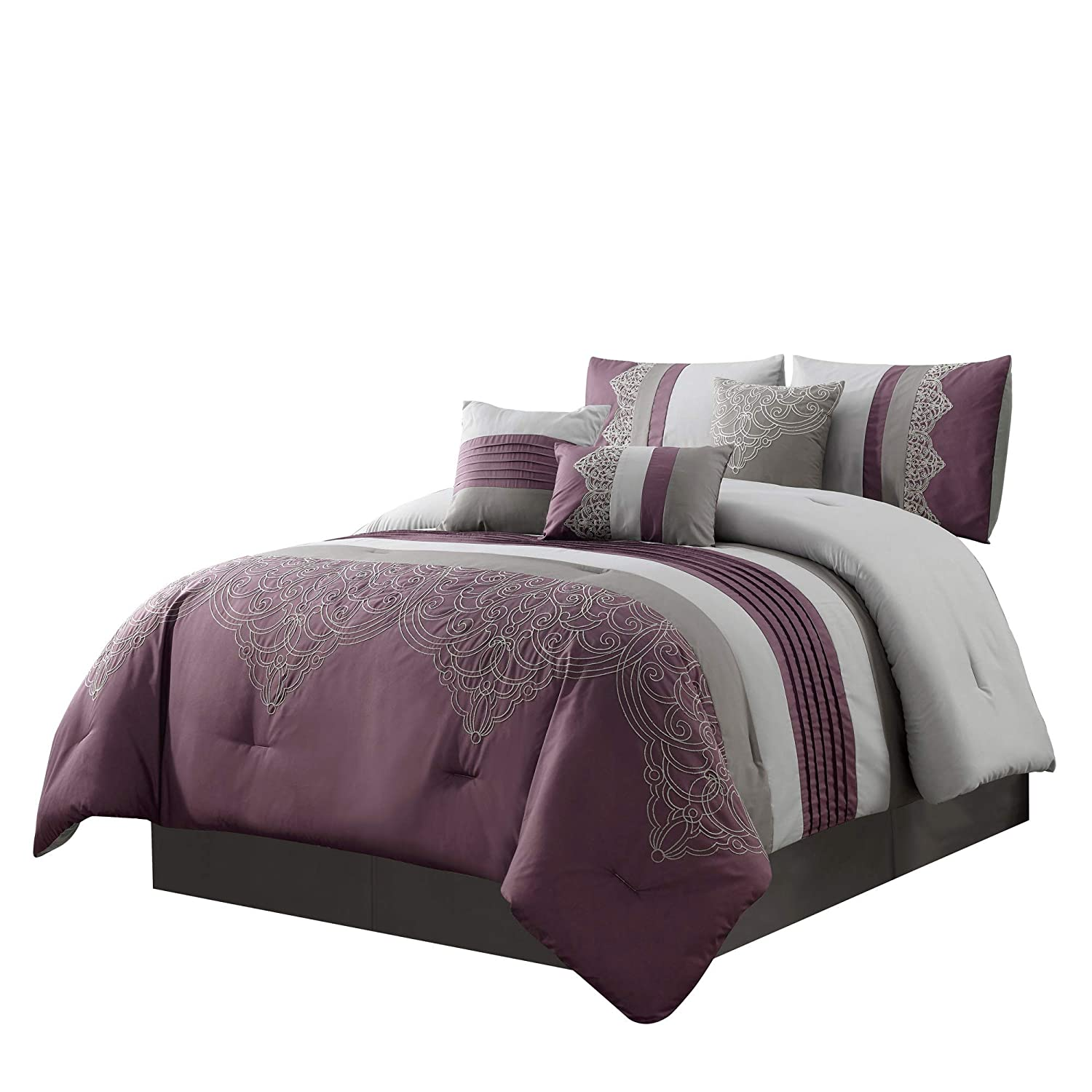 Chezmoi Collection Chloe 7-Piece Purple Gray Geometric Embroidery Pleated Striped Comforter Set, Queen