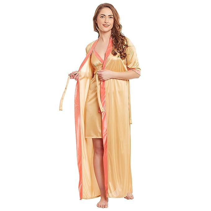 Claura Women s Satin Nighty (Gold fd7b8ded6