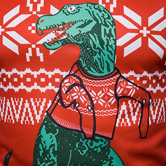 Amazon.com: WM & MW Mens Xmas Tops Long Sleeve Round Neck Christmas Dinosaur Print T-Shirt Pullover Tee Casual Blouse: Clothing