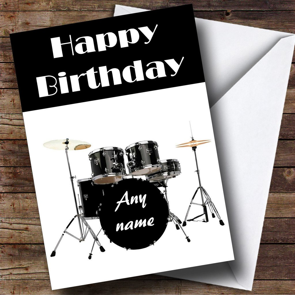 Drum Kit Drummer Personalised Birthday Card: Amazon.co.uk: Office ...