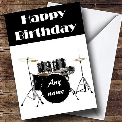 Drum Kit Drummer Personalized Birthday Greetings Card