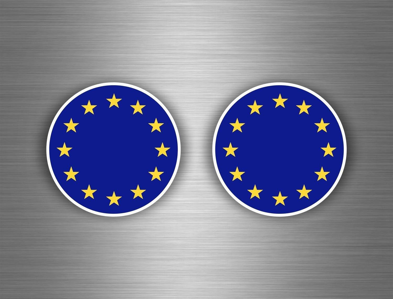 Akachafactory 2X Autocollant Sticker Voiture cocarde Drapeau Europe Union europenne UE CEE