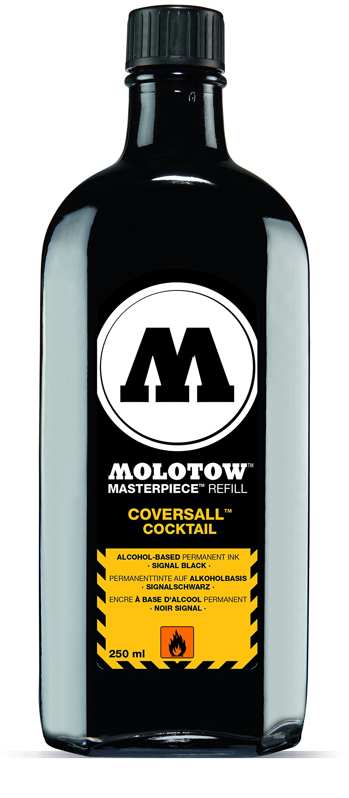 Molotow Cocktail CoversAll Permanent Ink Refill, Refill for Molotow 760.000 (Sold Separately), 250ml Bottle, Signal Black, 1 Each (691.760)
